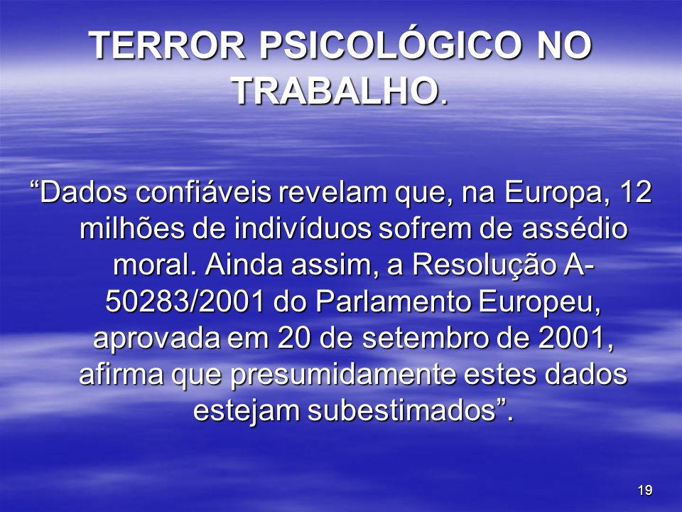 TERROR PSICOLÓGICO NO TRABALHO.