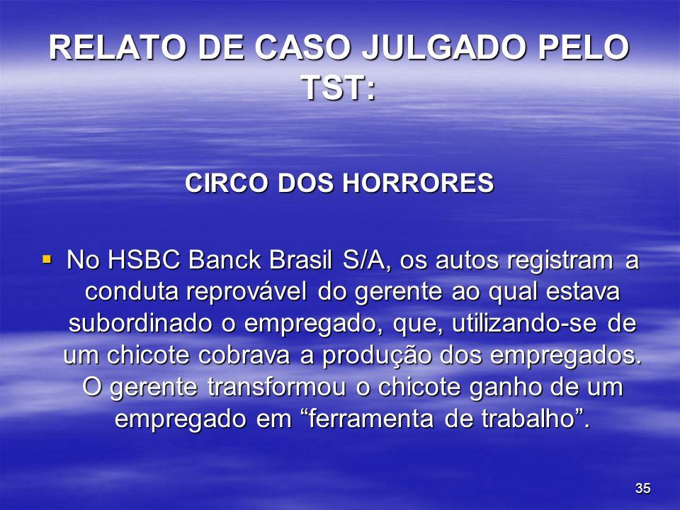 RELATO DE CASO JULGADO PELO TST: