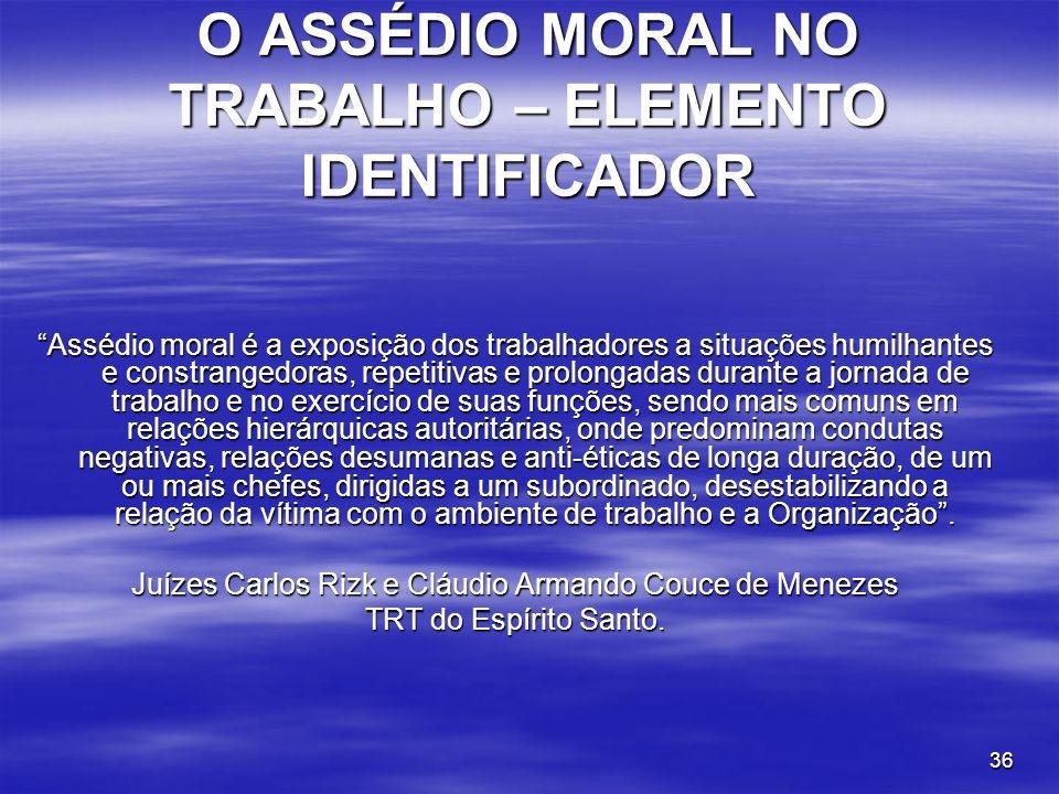 O ASSÉDIO MORAL NO TRABALHO – ELEMENTO IDENTIFICADOR