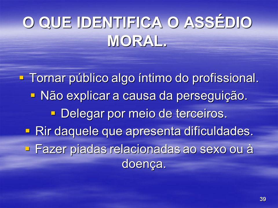 O QUE IDENTIFICA O ASSÉDIO MORAL.