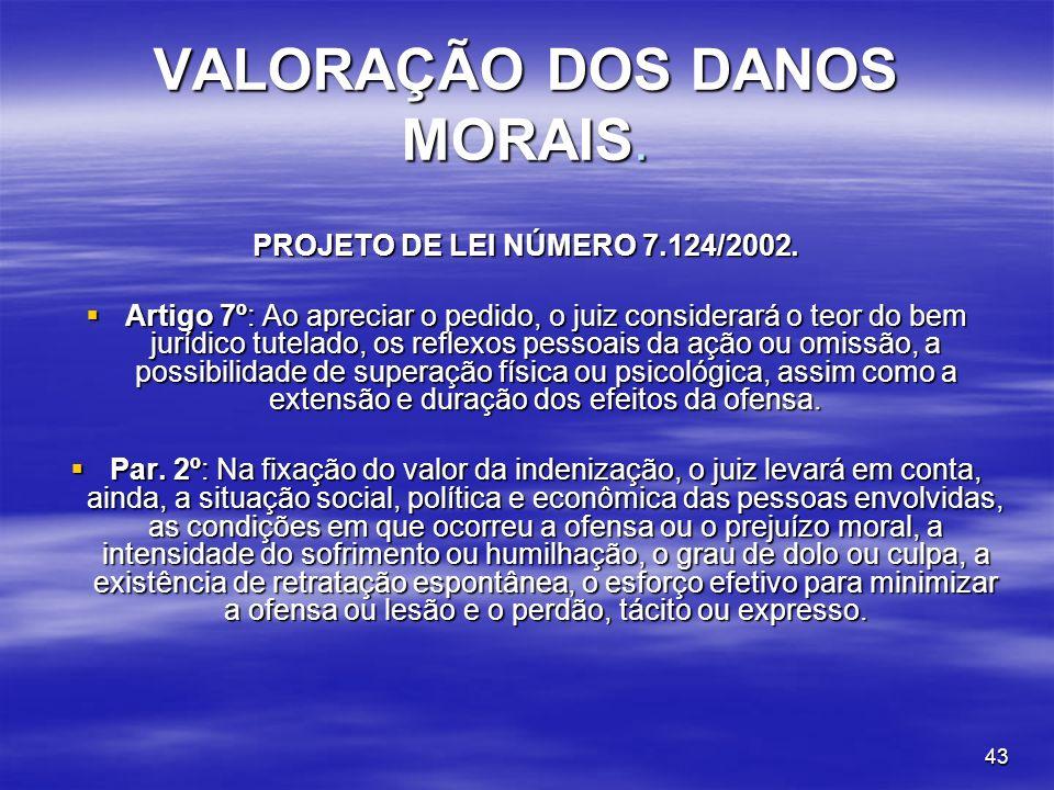 VALORAÇÃO DOS DANOS MORAIS.