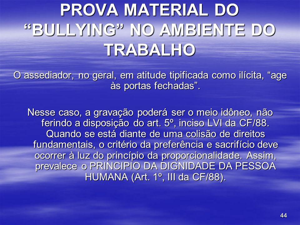 PROVA MATERIAL DO BULLYING NO AMBIENTE DO TRABALHO