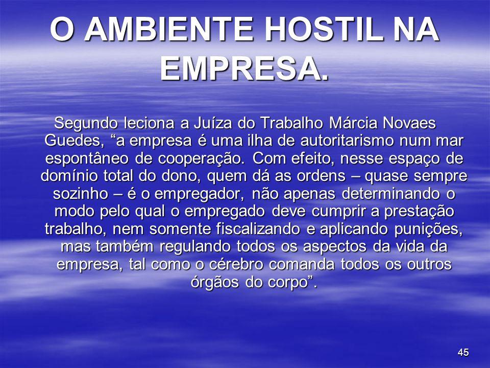 O AMBIENTE HOSTIL NA EMPRESA.