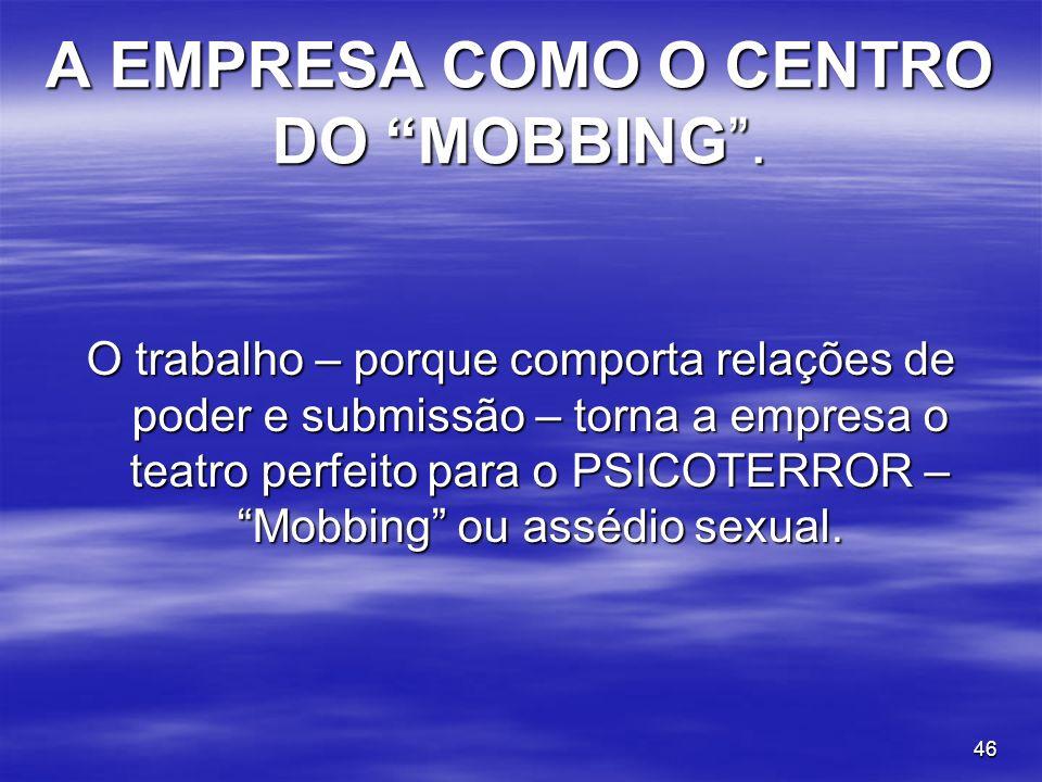 A EMPRESA COMO O CENTRO DO MOBBING .