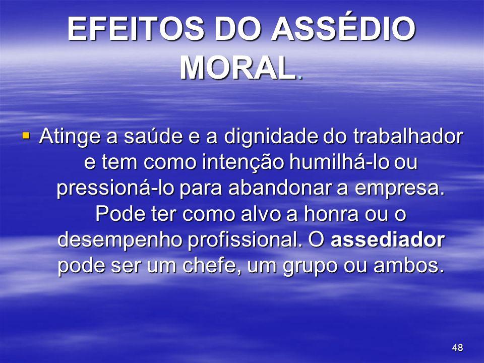 EFEITOS DO ASSÉDIO MORAL.