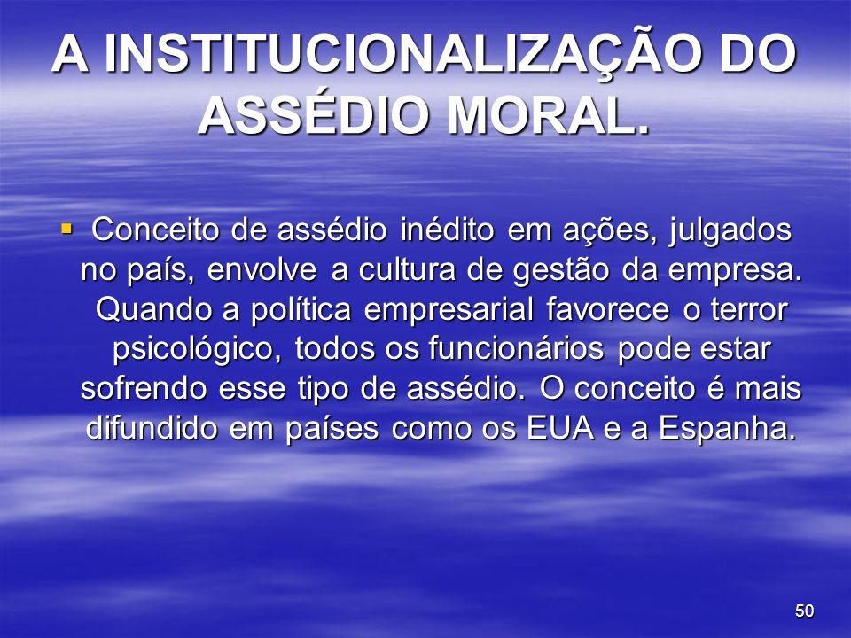 A INSTITUCIONALIZAÇÃO DO ASSÉDIO MORAL.