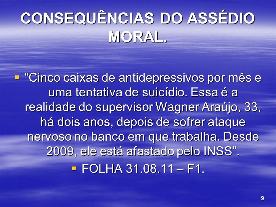 CONSEQUÊNCIAS DO ASSÉDIO MORAL.