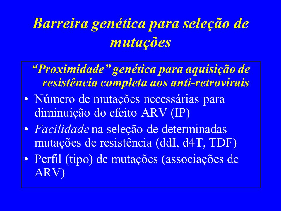 Barreira genética para seleção de mutações