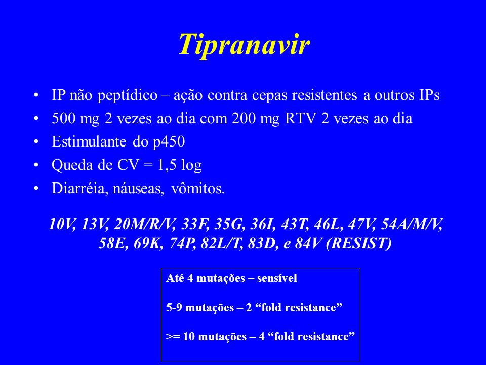 Tipranavir IP não peptídico – ação contra cepas resistentes a outros IPs. 500 mg 2 vezes ao dia com 200 mg RTV 2 vezes ao dia.