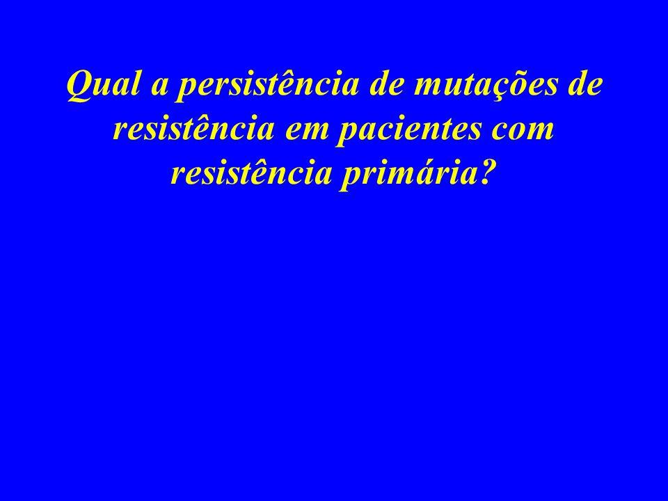 Qual a persistência de mutações de resistência em pacientes com resistência primária