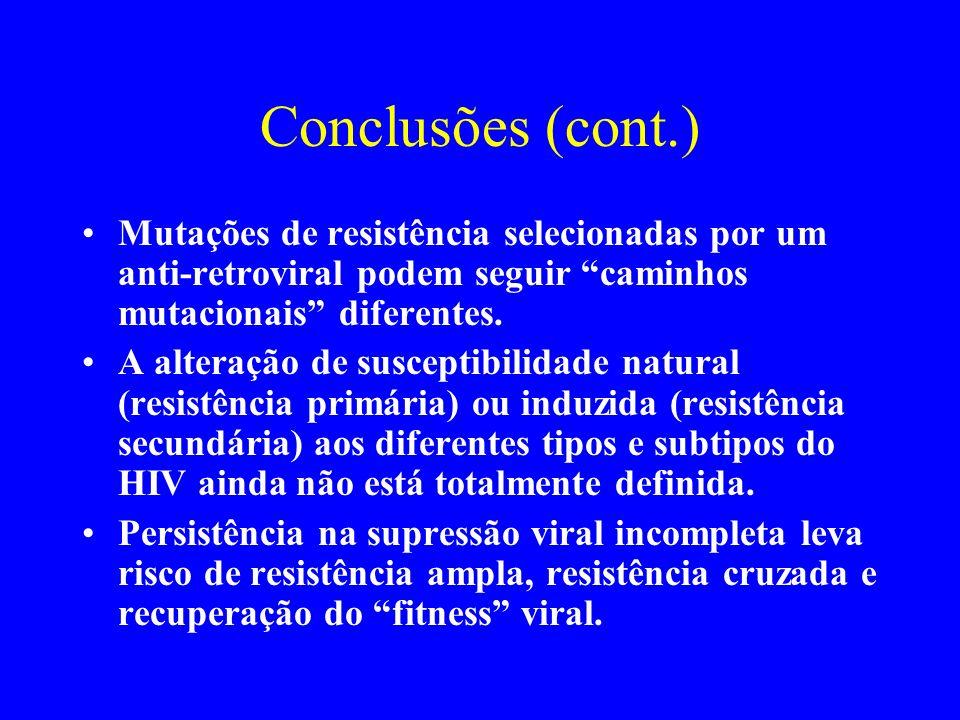 Conclusões (cont.) Mutações de resistência selecionadas por um anti-retroviral podem seguir caminhos mutacionais diferentes.