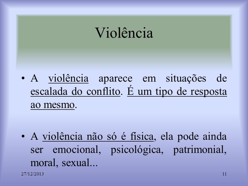 Violência A violência aparece em situações de escalada do conflito. É um tipo de resposta ao mesmo.