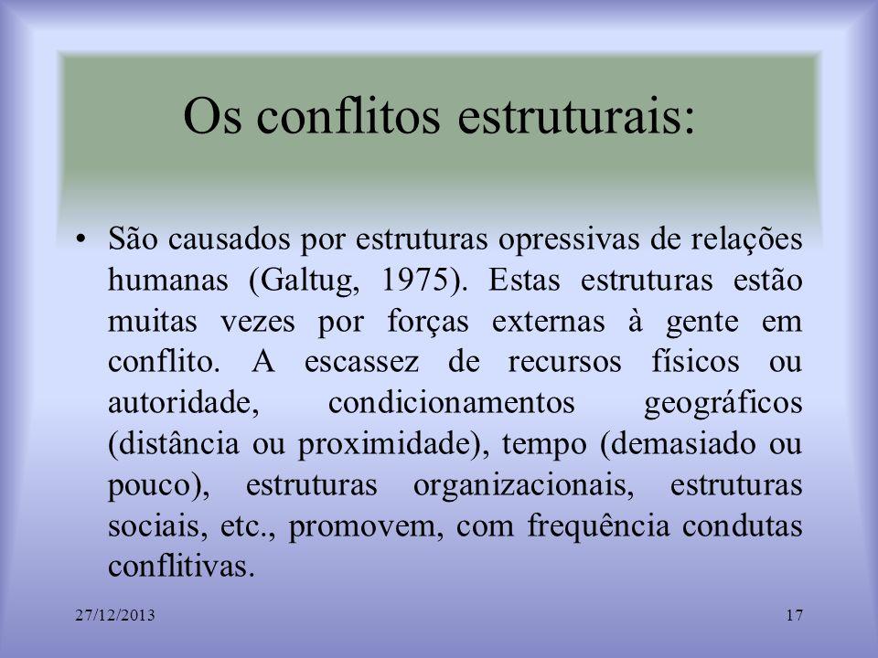 Os conflitos estruturais: