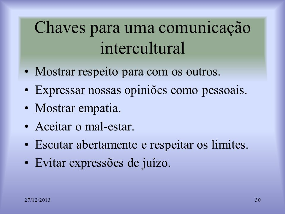 Chaves para uma comunicação intercultural