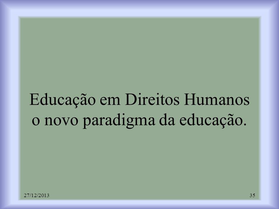Educação em Direitos Humanos o novo paradigma da educação.