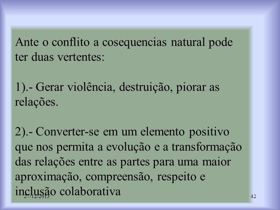 Ante o conflito a cosequencias natural pode ter duas vertentes: 1)