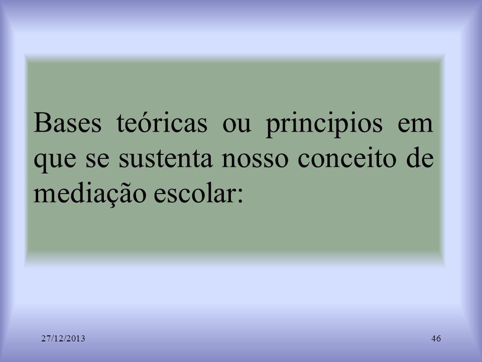 Bases teóricas ou principios em que se sustenta nosso conceito de mediação escolar: