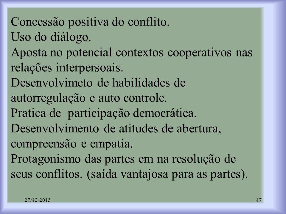 Concessão positiva do conflito. Uso do diálogo