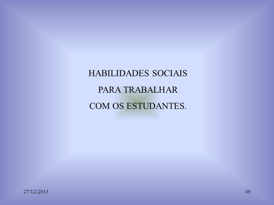 HABILIDADES SOCIAIS PARA TRABALHAR COM OS ESTUDANTES. 23/03/2017