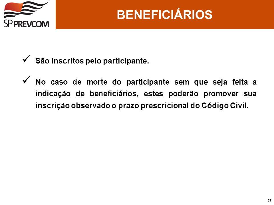 BENEFICIÁRIOS São inscritos pelo participante.