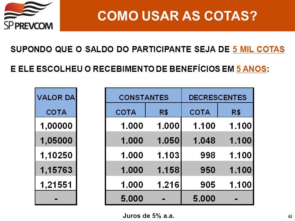 COMO USAR AS COTAS SUPONDO QUE O SALDO DO PARTICIPANTE SEJA DE 5 MIL COTAS E ELE ESCOLHEU O RECEBIMENTO DE BENEFÍCIOS EM 5 ANOS: