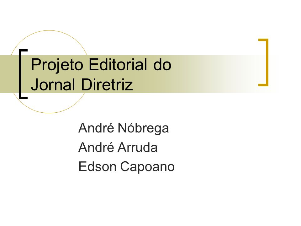 Projeto Editorial do Jornal Diretriz