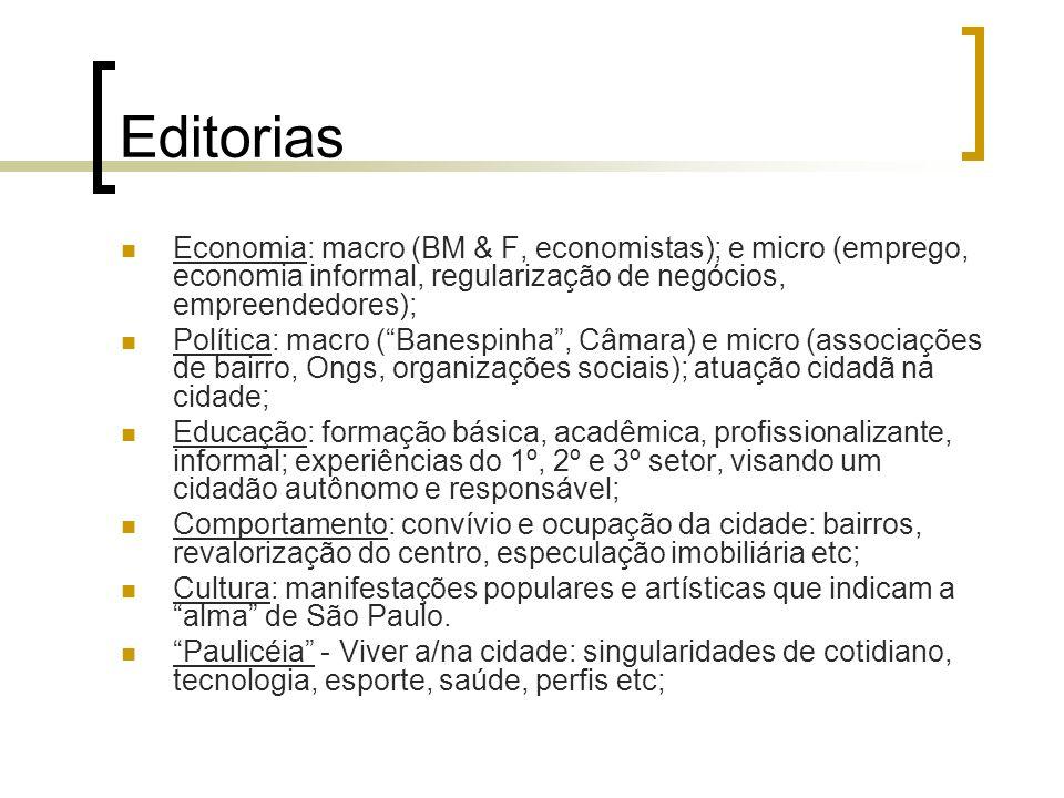 Editorias Economia: macro (BM & F, economistas); e micro (emprego, economia informal, regularização de negócios, empreendedores);