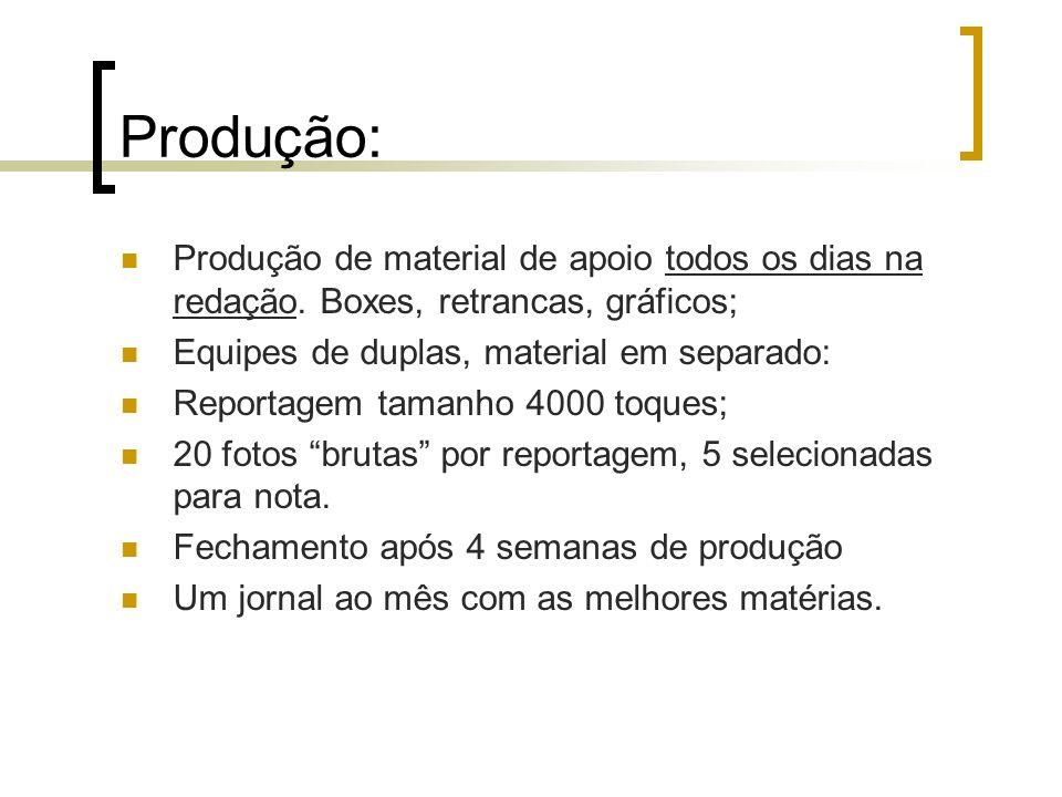 Produção: Produção de material de apoio todos os dias na redação. Boxes, retrancas, gráficos; Equipes de duplas, material em separado: