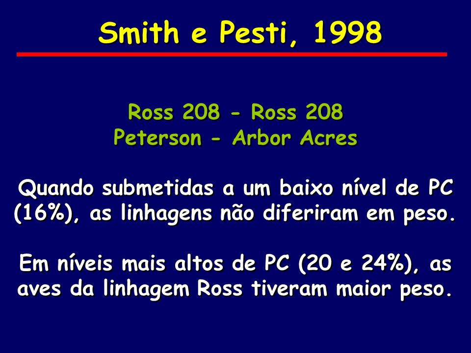 Smith e Pesti, 1998 Ross 208 - Ross 208 Peterson - Arbor Acres