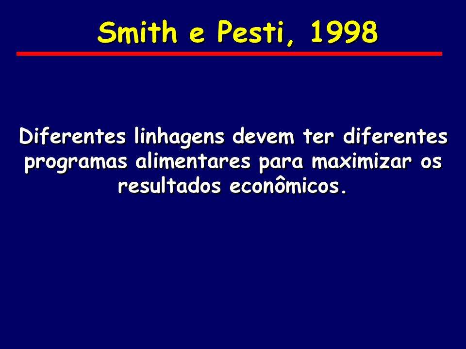 Smith e Pesti, 1998Diferentes linhagens devem ter diferentes programas alimentares para maximizar os resultados econômicos.