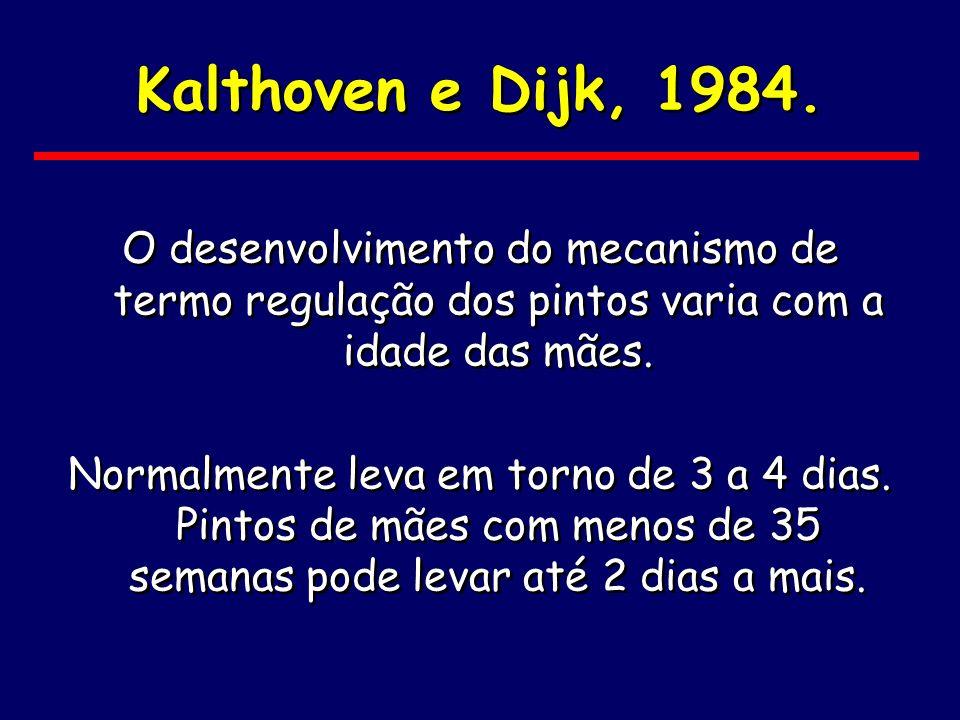 Kalthoven e Dijk, 1984.O desenvolvimento do mecanismo de termo regulação dos pintos varia com a idade das mães.