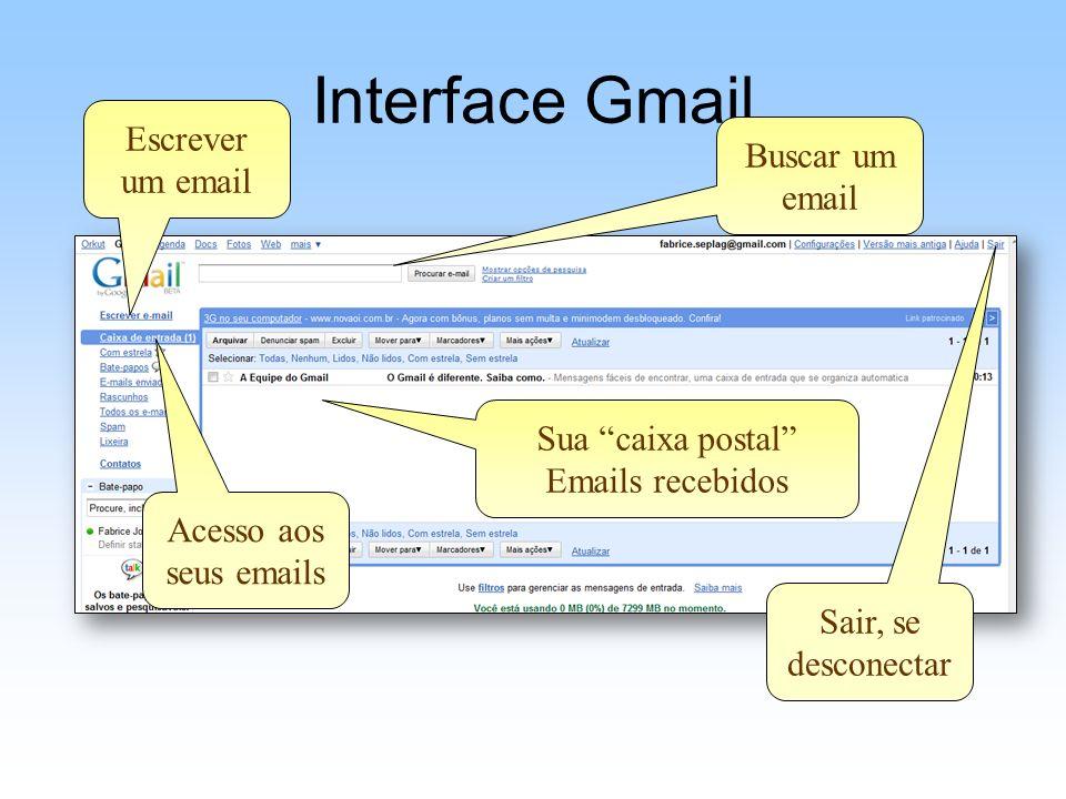 Interface Gmail Escrever um email Buscar um email Sua caixa postal