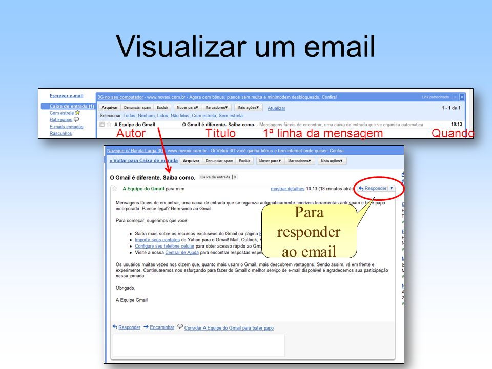 Para responder ao email