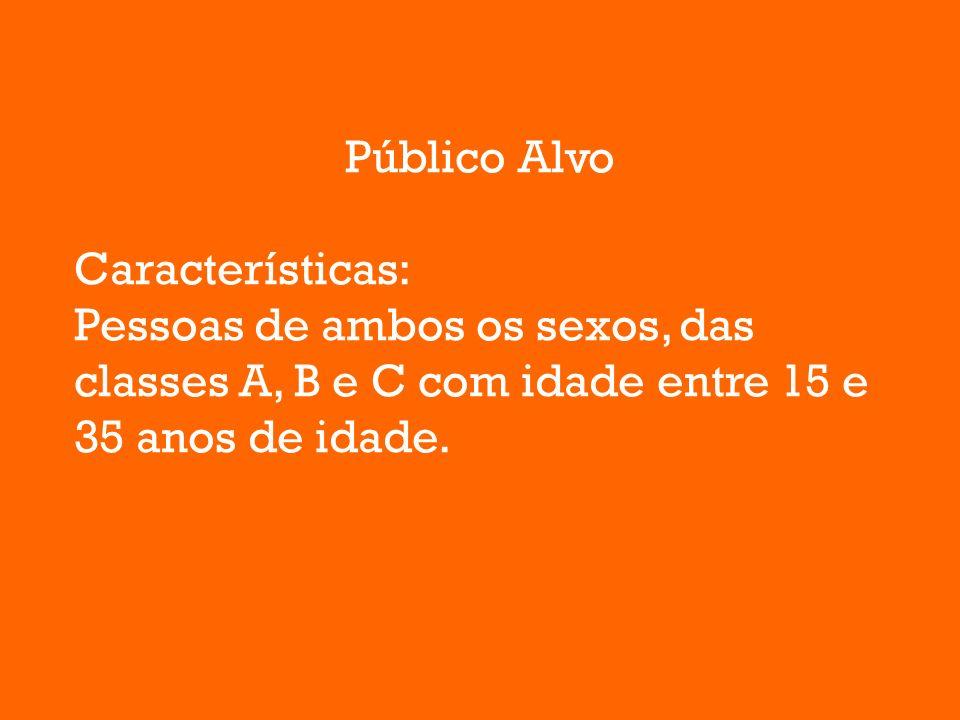 Público Alvo Características: Pessoas de ambos os sexos, das classes A, B e C com idade entre 15 e 35 anos de idade.