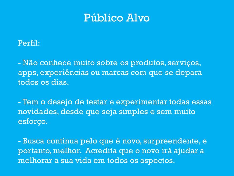 Público Alvo Perfil: - Não conhece muito sobre os produtos, serviços, apps, experiências ou marcas com que se depara todos os dias.
