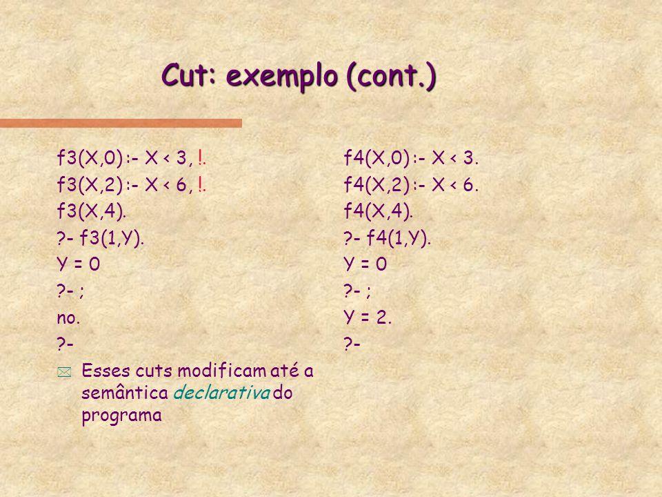 Cut: exemplo (cont.) f3(X,0) :- X < 3, !. f3(X,2) :- X < 6, !.