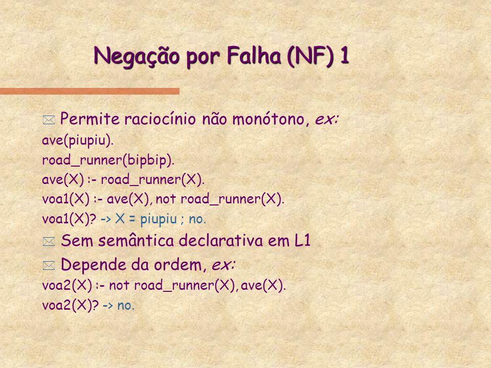 Negação por Falha (NF) 1 Permite raciocínio não monótono, ex: