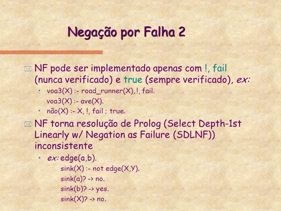 Negação por Falha 2 NF pode ser implementado apenas com !, fail (nunca verificado) e true (sempre verificado), ex: