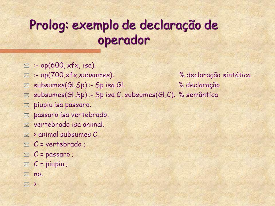 Prolog: exemplo de declaração de operador