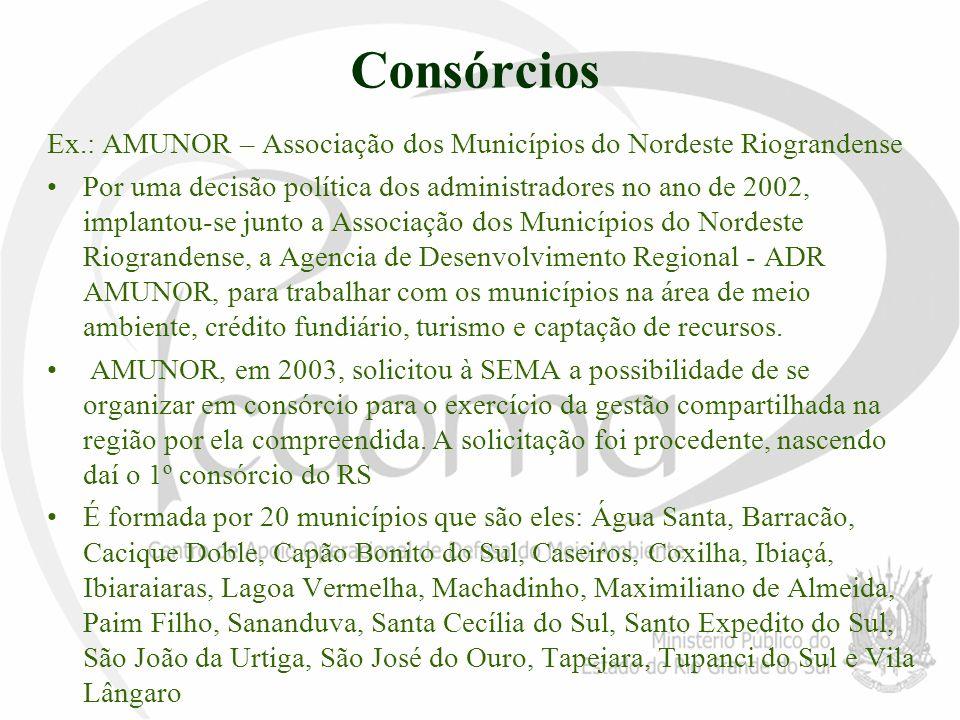 Consórcios Ex.: AMUNOR – Associação dos Municípios do Nordeste Riograndense.