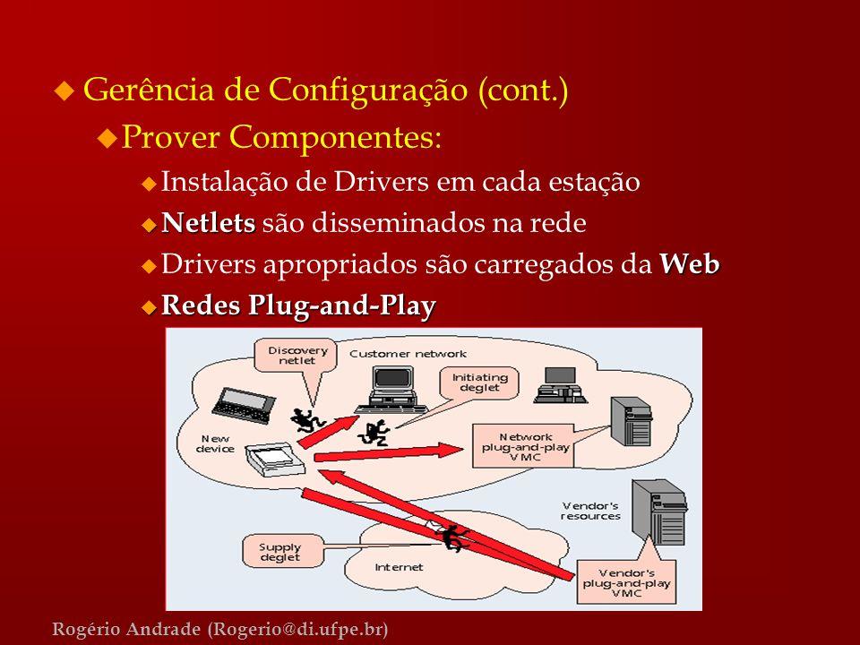 Gerência de Configuração (cont.) Prover Componentes: