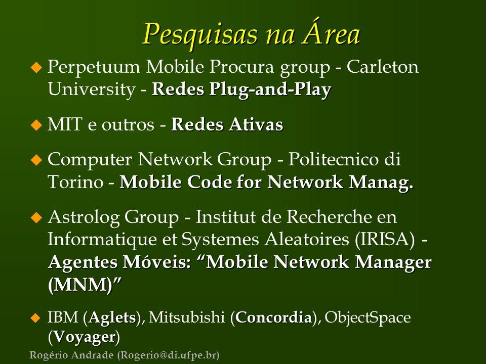 Pesquisas na Área Perpetuum Mobile Procura group - Carleton University - Redes Plug-and-Play. MIT e outros - Redes Ativas.