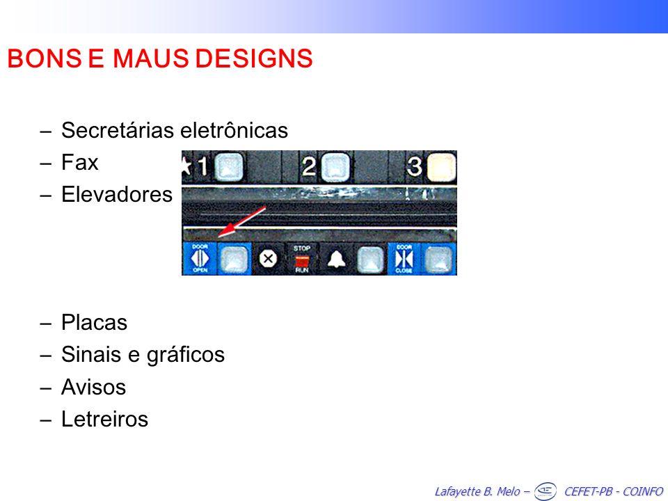 BONS E MAUS DESIGNS Secretárias eletrônicas Fax Elevadores Placas