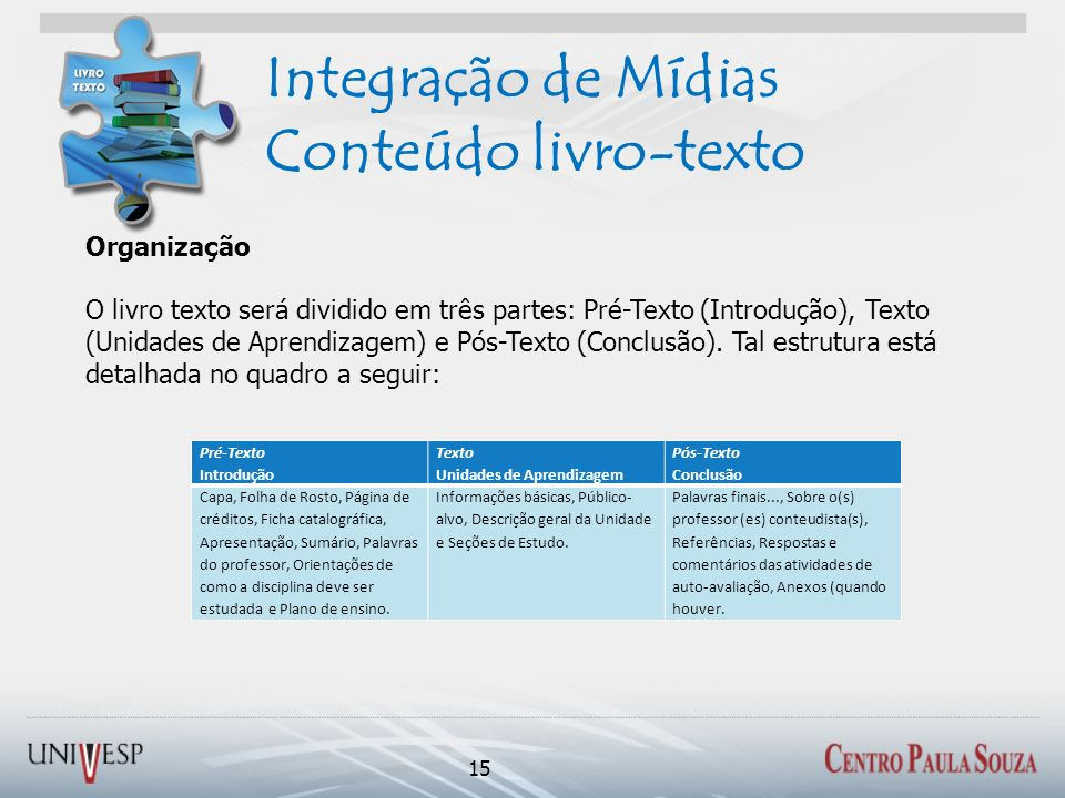 Integração de Mídias Conteúdo livro-texto