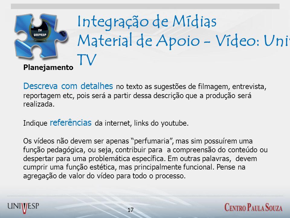 Integração de Mídias Material de Apoio - Vídeo: Univesp TV