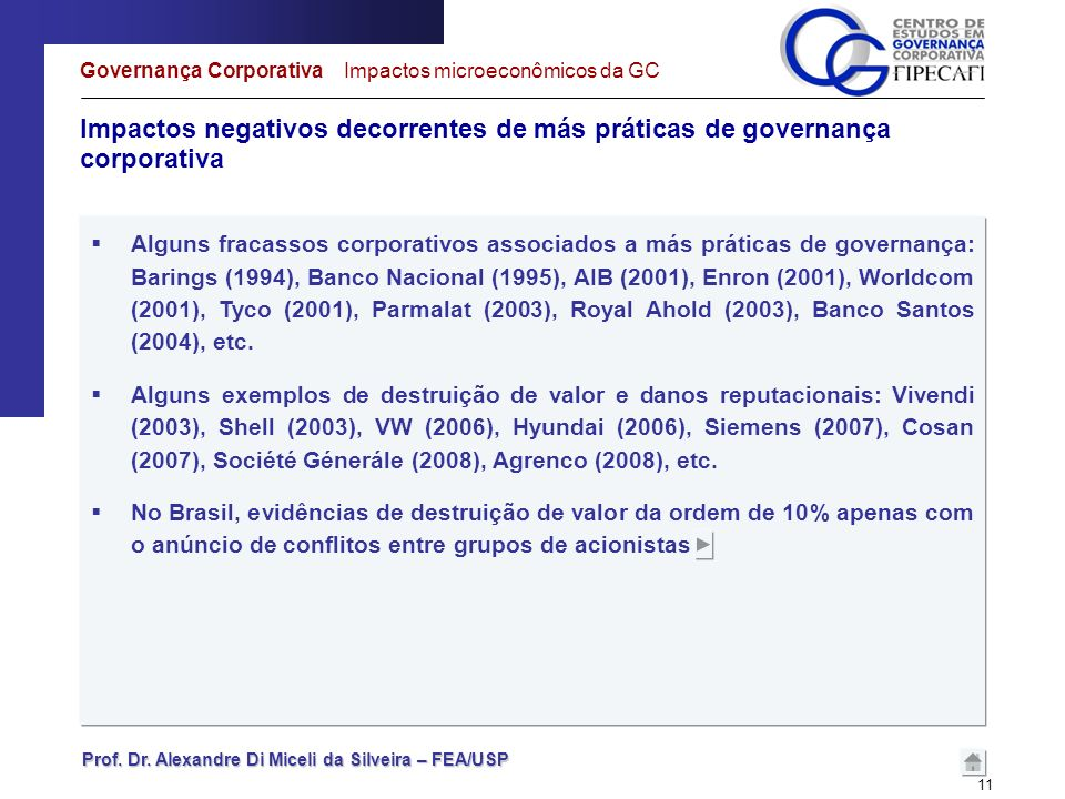 Governança Corporativa Impactos microeconômicos da GC