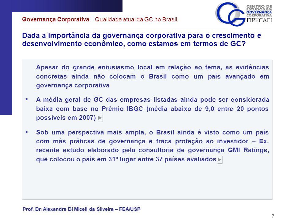 Governança Corporativa Qualidade atual da GC no Brasil