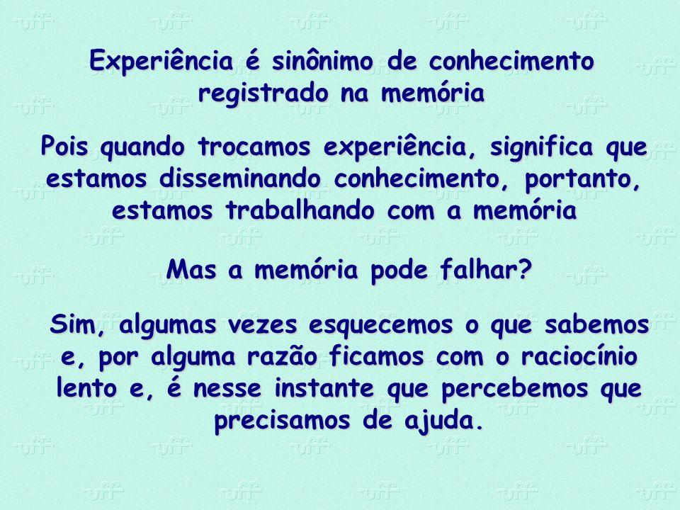 Experiência é sinônimo de conhecimento registrado na memória