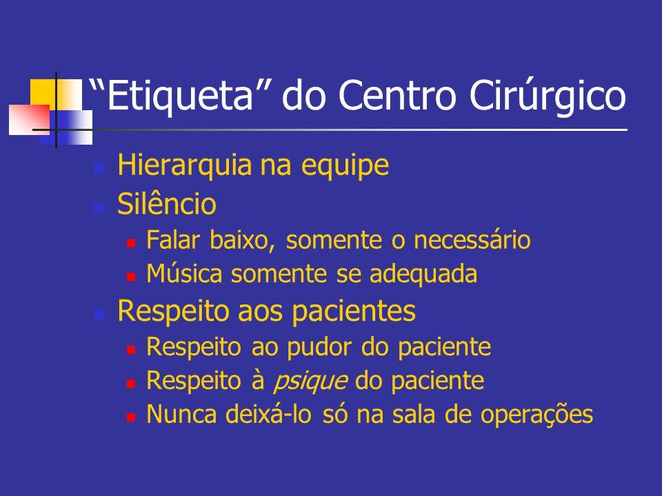 Etiqueta do Centro Cirúrgico