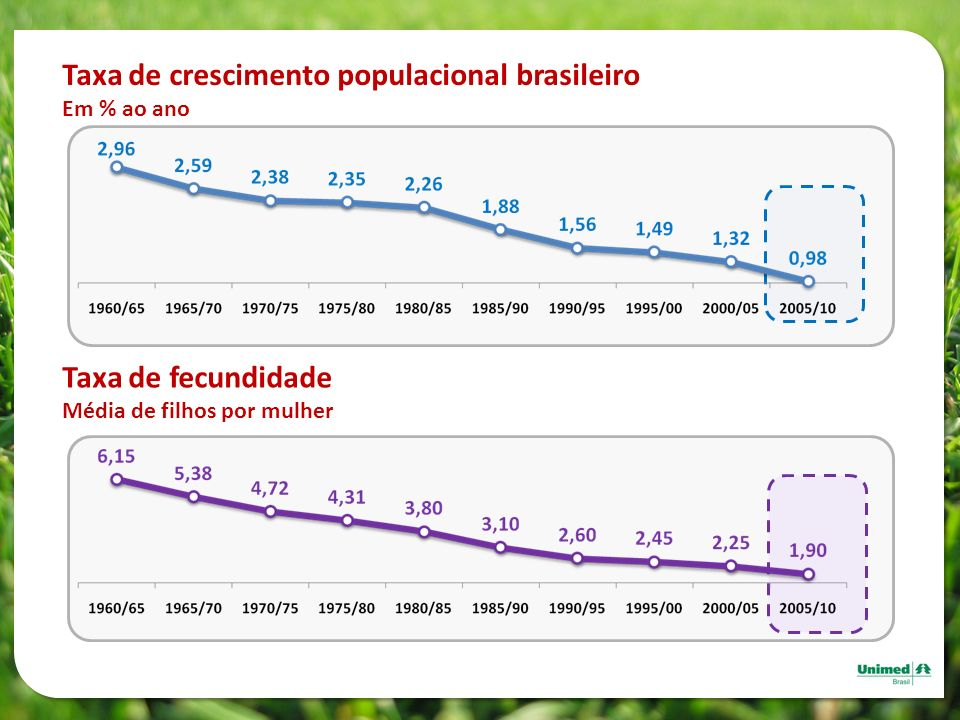 Taxa de crescimento populacional brasileiro
